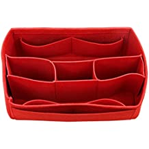 [Fits Speedy 35, Red] Felt Organizer (with Detachable Middle Compartments), Bag in Bag, Wool Purse Insert, Customized Tote Organize, Cosmetic Makeup Diaper Handbag