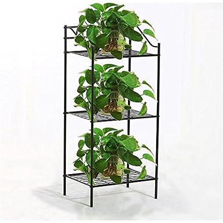 Go2buy 3 Shelves Black Iron Kitchen Bakers Rack Indoor Metal Plant Stands Bedside Table Nightstand