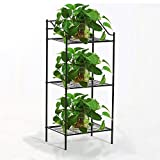 go2buy 3 Shelves Black Iron Kitchen Bakers Rack Indoor Metal Plant Stands Bedside Table Nightstand