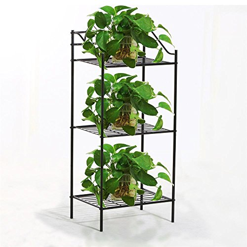 [Yaheetech 3 Shelves Black Iron Kitchen Bakers Rack for Microwave Oven Indoor Metal Plant Stands] (Metal Rack Microwave)