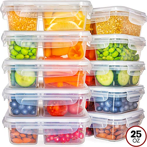 Food Storage Containers with Lids - Divided Lunch Containers (25 Ounce, 10 Pack) Plastic Food Containers with Lids Meal Prep Containers 2 Compartment Plastic Containers with Lids Food Prep Containers