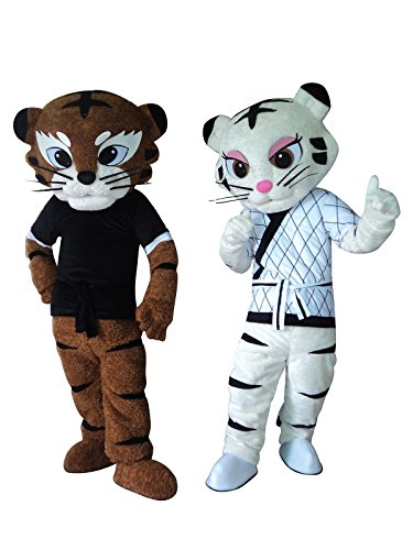 Sinoocean Kung Fu Judo Tiger Tigress Cartoon Mascot Costume Fancy Dress Cosplay Outfit (White(Right)) -