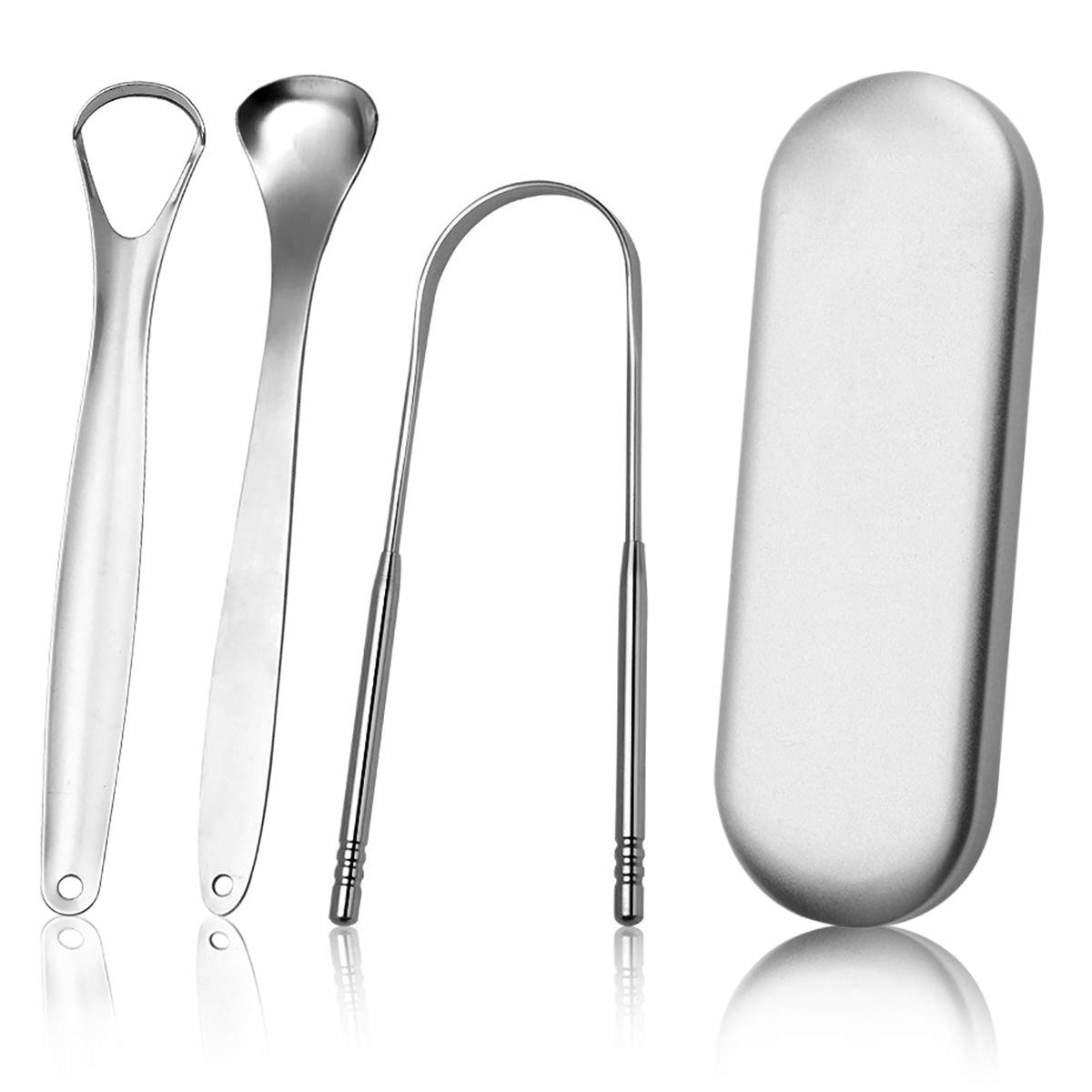 STfantasy Tongue Cleaner Tongue Scraper Tongue Brush Stainless Steel for Adults Dental Kit, Set of 3 with case