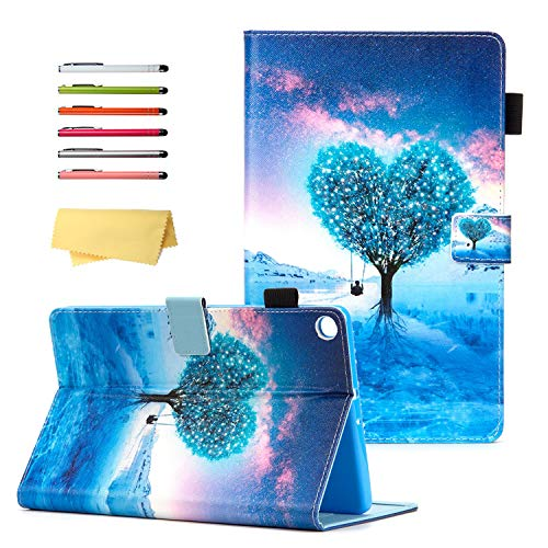 UUcovers for Samsung Galaxy Tab A 10.1 Tablet 2019 Case Model SM-T510/ T515/ T517 with Pencil Holder Card Pockets, Folding Folio Stand Magnetic PU Leather TPU Back Shockproof Cover, Blue Heart Tree