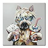 EVERFUN ART Dog Canvas Wall Art Hand Painted Oil Painting Cool Animal Picture Artwork Cute Shepherd with Popcorn and Coke Framed and Stretched (32''Wx32''H)