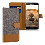 kwmobile Wallet case canvas cover for Samsung Galaxy S7 - Flip case with card slot and stand in dark grey brown
