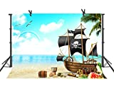 FUERMOR Cartoon Pirate Ship Backdrop 7x5ft Themed Party Photography Stuido Photo Background Props LHFU061