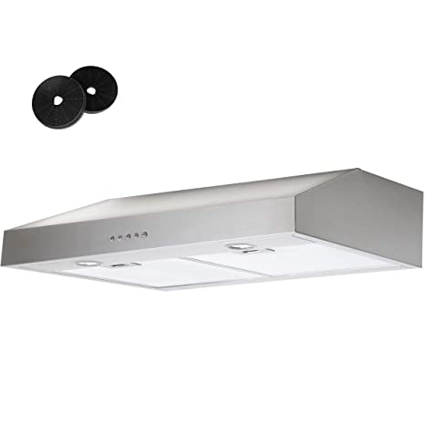 "30 inch 350 CFM 7"" Height Range Hood Under Cabinet Stainless Steel Kitchen  Stove Vent Fan with Carbon Filter"