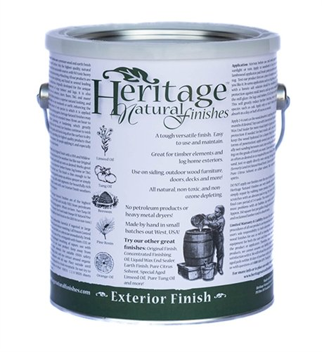 Heritage Natural Finishes - Exterior Finish - All natural and nontoxic oil finish, with UV inhibitor and mildewcide - Can be reapplied yearly without stripping old finish, 1 Gallon