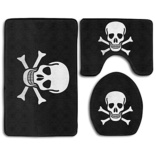 DING Skull Pirate Flag Soft Comfort Flannel Washroom Mats,Non-Slip Absorbent Toilet Seat Cover Bath Mat Lid Cover,3pcs/Set Rugs ()