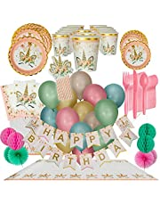 Unicorn Birthday Party Supplies for Girls - Plates, Cups, Napkins, (16 Guests Set) Banner and Decorations, Balloons, Unicorn Plates, Napkins, Cups, Tablecloth, Pink Straws, Cutlery | Unicorn Birthday and Event Decor