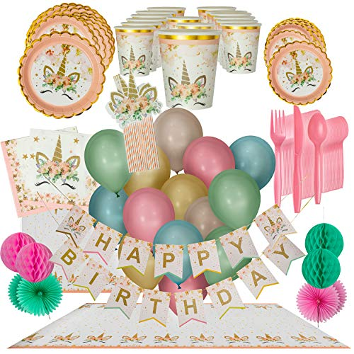 LHM Unicorn Birthday Party Supplies for Girls - Plates, Cups, Napkins, (16 Guests Set) Banner and Decorations, Balloons, Tablecloth, Pink-striped Straws and decoration, Cutlery - Birthday and Event Decor, 1st Birthday and Baby Shower Decorations]()