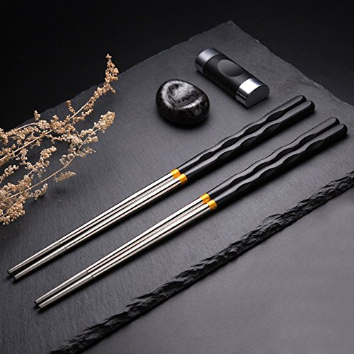 5 Pair Stainless Steel Chopsticks Gift Set Japanese Hotel Restaurant Chopsticks Set (Japan) ()
