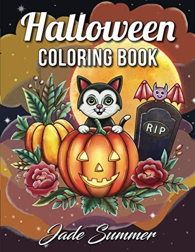 Easy Cartoon Characters For Halloween (Halloween Coloring Book: An Adult Coloring Book with Beautiful Flowers, Adorable Animals, Spooky Characters, and Relaxing Fall)