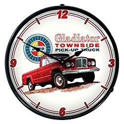 Jeep Gladiator Townside Pickup Truck LED Wall Clock, Retro/Vintage, Lighted, 14 inch