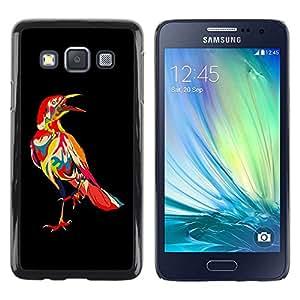Be Good Phone Accessory // Dura Cáscara cubierta Protectora Caso Carcasa Funda de Protección para Samsung Galaxy A3 SM-A300 // Psychedelic Pattern Bird Raven