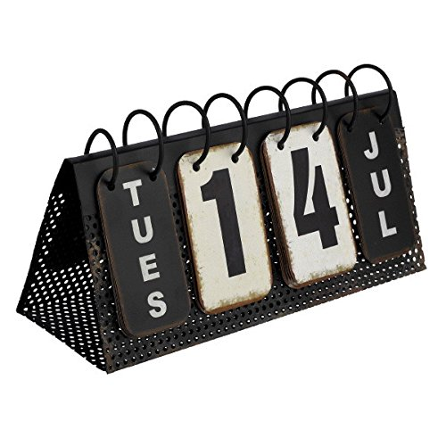 Verdant Calendar Decor Vintage Perpetual Desk Calendar Metal Reproduction 10-3/4-in