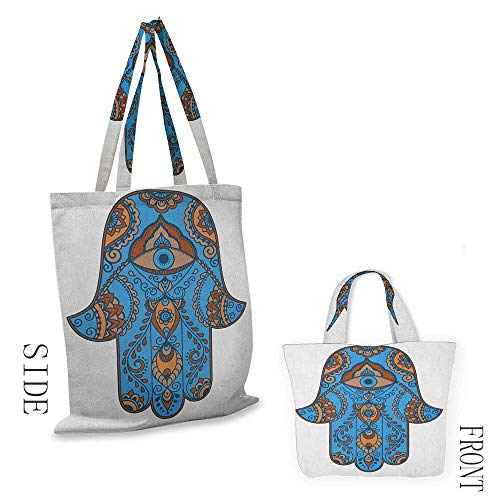 shopping box bag HamsaSign of Protection with Curly Paisley Pattern Vintage Amulet All Seeing Eye Blue Brown Vermilion18
