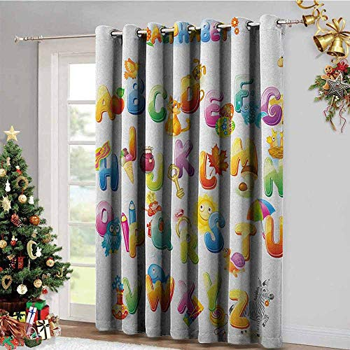 Abc Baby Valance - Educational Kitchen Gromets Curtain and Valances Set Drapes for Babys Room, Cheerful Cartoon Fun Alphabet Design for Kids Cute Font Preschool Kindergarten Insulating Darkening Curtains, Multicolor,