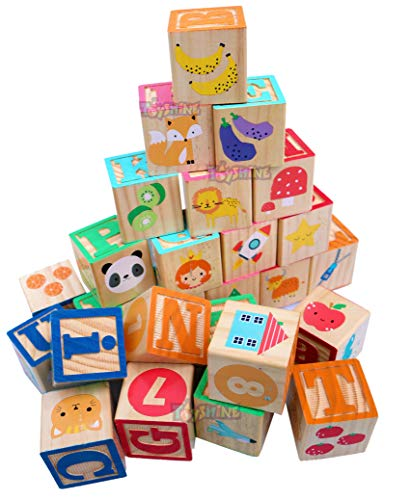 Toyshine Wooden ABC Blocks. Extra Large Engraved Baby Alphabet Letters, Counting  amp; Building Block Set