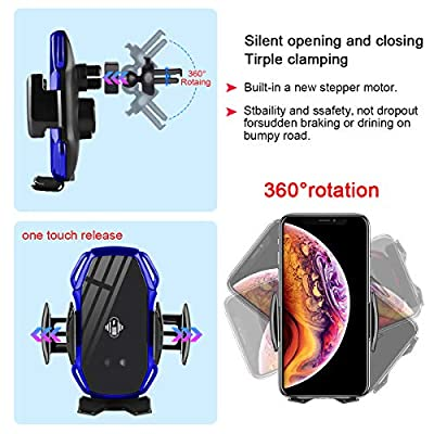 Wireless Charger Car Touch Sensing Automatic Retractable Clip Fast Charging Compatible for iPhone Xs Max/XR/X/8/8Plus Samsung S9/S8/Note 8: Home Audio & Theater