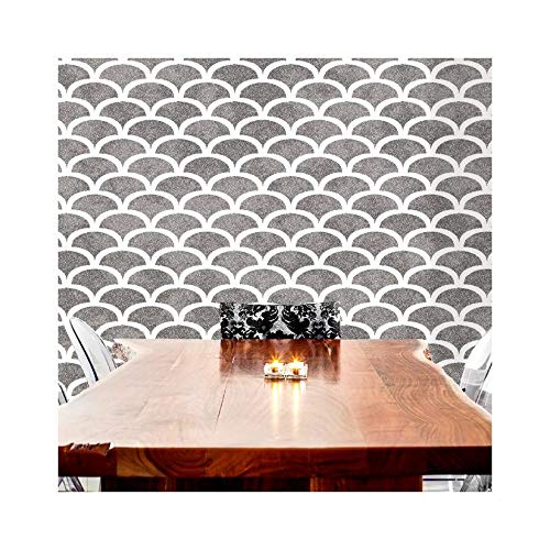 ART DECO SCALLOP Furniture Wall Floor Stencil for Painting - Furniture Medium