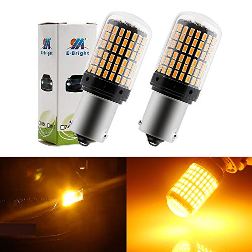 EverBright 1156 7506 Turn Signal Bulb, Canbus No Error BA15S 1141 1003 Led Bulb for RV Camper Tail Turn Blinker Indicator Light Bulb Amber Yellow 2800Lumens 3014 144SMD (Pack of - Indicator Amber Bulb