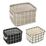 YJYDADA Foldable Storage Bin Closet Toy Box Container Organizer Fabric Basket,20X15 X 12cm/7.9X5.9X4.72 inches (White)