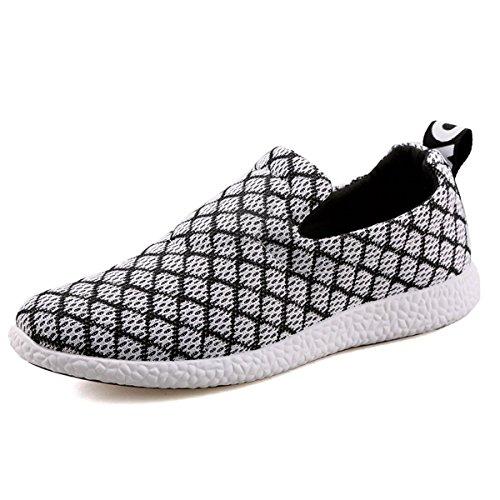 VECJUNIA Mans Mesh Slip On Sneakers Shoes Outdoor Casual Shoes White S49UBNryaQ