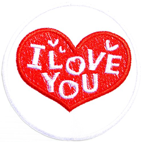 I LOVE YOU Red Heart Valentine Day Sign Logo Jacket T-shirt Vest Craft Art Patch Sew Iron on Embroidered Badge Symbol Custom Accesories
