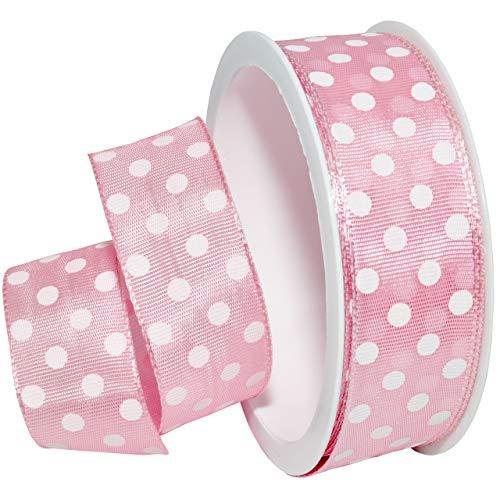 (Morex Ribbon 598 Polka Dots Ribbon, 1 inch by 4 Yards, Light Pink)