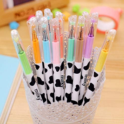 Peanutaoc 12 Colors Cute Cartoon Milk Cow 0.38mm Fineliner Pens Marker Pen Gel Ink Pen Set Arts School Supplies Office Stationary