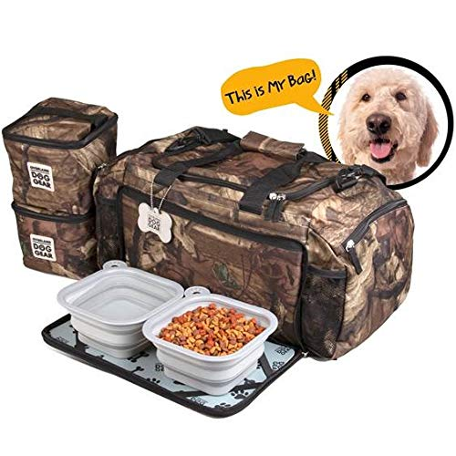 Dog Travel Bag - Ultimate Week Away Duffel Med Large Dogs - Includes Bag, 2 Lined Food Carriers, Placemat 2 Collapsible Bowls (Camo) by Overland Dog Gear