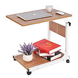 Sogespower Adjustable Laptop Table, Movable Computer Stand, Portable Desk Cart Tray Mobile Side Table,oak