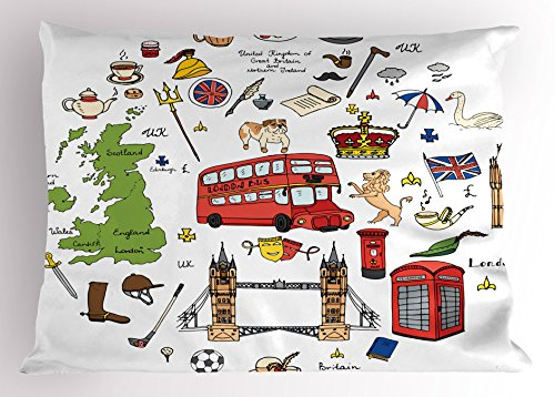 Travel Pillow Sham by Ambesonne, Hand Drawn Famous Tourist Places Big Ben London UK British Monuments Illustration, Decorative Standard Size Printed Pillowcase, 26 X 20 Inches, Multicolor (London Themed Pillows)