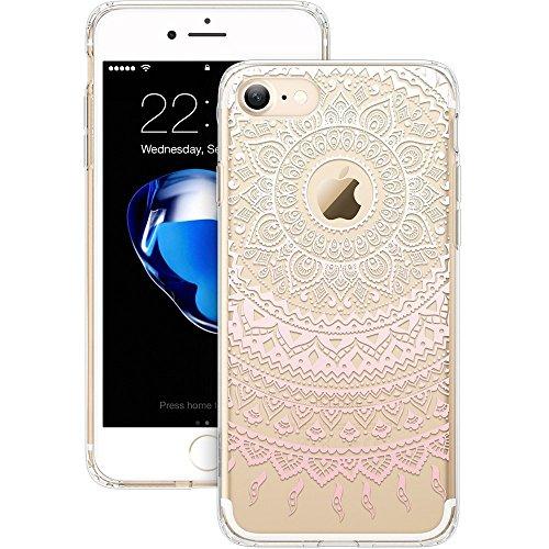 iPhone 7Cover Case + Pellicola protettiva in vetro temperato & # xFF0C; iliebe® Pittura colorata Painted Modello [Morbido TPU copertura] + [2pezzi] Pellicola Protettiva 0.33mm 9H durezza, 2.5d bor
