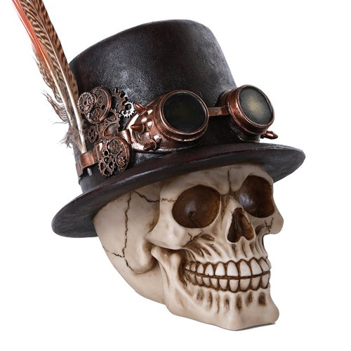 Steampunk Feathered Top Hat Skull with Steampunk Goggles Collectible Figurine Skull - Goggles Top