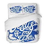 SanChic Duvet Cover Set Church Christian Lettering Drawing Jesus Is My Life Love Baptism Bible Decorative Bedding Set Pillow Sham Twin Size