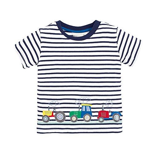 Little Boys Summer Cotton Strip T Shirt,Summer Short Sleeve T-shirt Clothes (3T, Tractor)