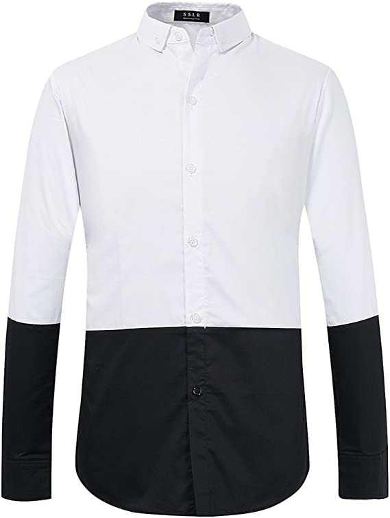 SSLR Camisas Hombre Slim Fit Manga Larga Casual de Bloque Blanca y Negra (Medium, Blanco Negro): Amazon.es: Ropa y accesorios