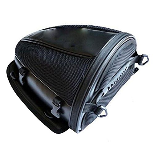 Pevor Motorcycle Tail Bag PU Leather Multifunctional Waterproof Sports Motorcycle Seatback Tool Bag Luggage Carry Bag Bike Storage Tank Bag
