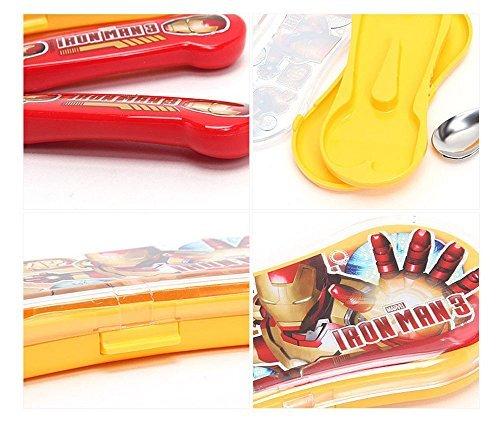 Disney Marvel Gon Avengers Assemble Kid Spoon Fork Set with Plastic Case (Iron-man 1)