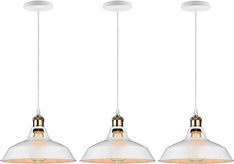 B2ocled 3 Packs Retro Kitchen Pendant Lighting Over Island Metal White  Paint Large Hanging Light Fixture for Bar,1-Light,12 inch Diameter