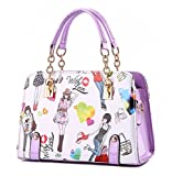 YAAGLE Fashion Printing Simple Handbag Shoulder Bag Satchel For Girls and Women