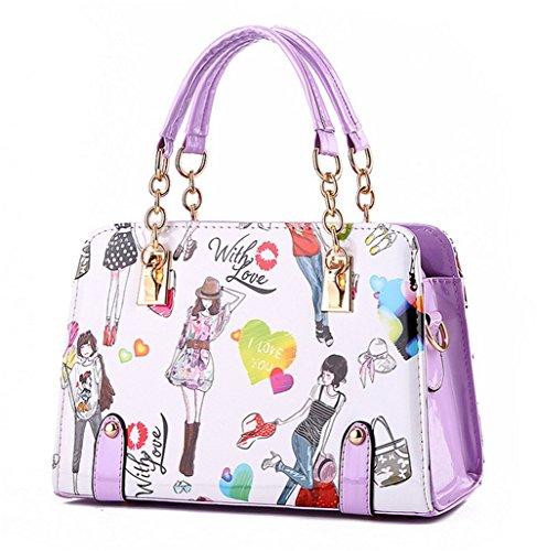 YAAGLE Fashion Printing Simple Handbag Shoulder Bag Satchel For Girls and Women
