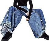 XXBlosom Women High Waist Wide Leg Culottes Denim Frayed Hems Faded Palazzo Pants Jeans Blue Medium