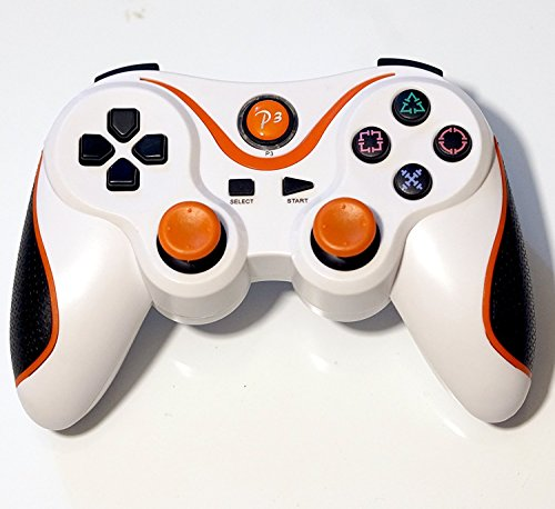 PomeMall Wireless Remote PS3 Controller Gamepad for use with PlayStation 3 (White/Orange)
