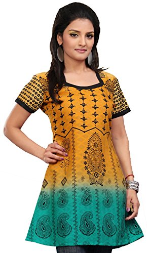 Long Indian Tunic Top Printed Womens Blouse Cotton India Clothes (Orange, L)