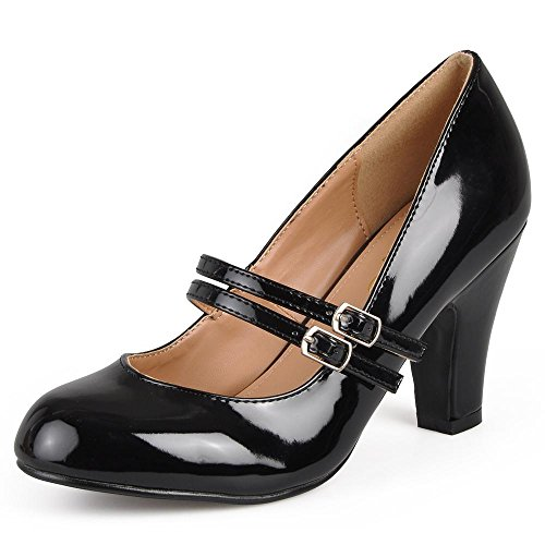 Brinley Co Womens Mary Jane Patent Faux Leather Pumps (6.5 M US, Black) ()