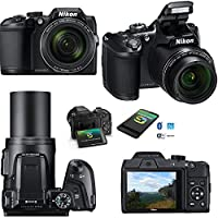 Nikon COOLPIX B500 Wi-Fi, NFC Digital Camera w/40x Zoom & HD Video (Black) - International Version (No Warranty) + 4 AA Batteries with Charger + 10pc 32GB Dlx Accessory Kit w/ HeroFiber Cleaning Cloth by Nikon